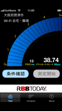 iOS6.0.1 Wi-Fi通信速度測定