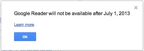 Googleリーダーは2013年7月1日以降ご利用いただけません