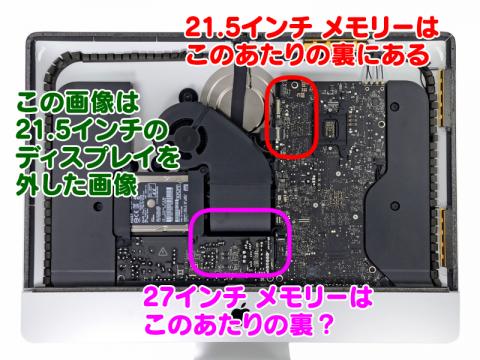 21.5インチと27インチiMacのメモリー位置の違い
