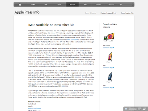 Apple - Press Info - iMac Available on November 30