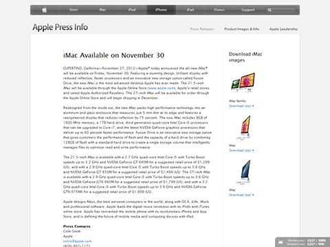 Apple - Press Info - iMac Available on November 30