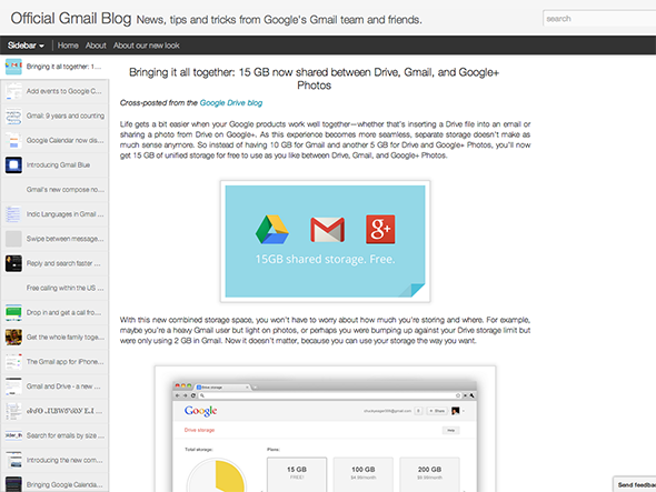 Bringing it all together: 15 GB now shared between Drive, Gmail, and Google+ Photos - Official Gmail Blog