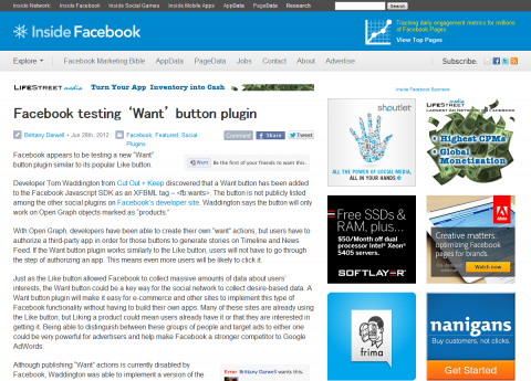 Facebook testing 'Want' button plugin - Inside Facebook