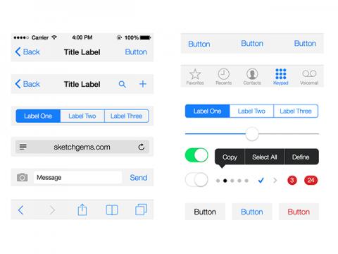 iOS 7 UI Kit Lite for Sketch