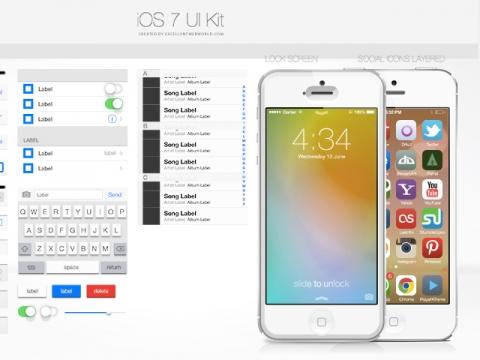 Download iOS7 UI Kit PSD on Behance