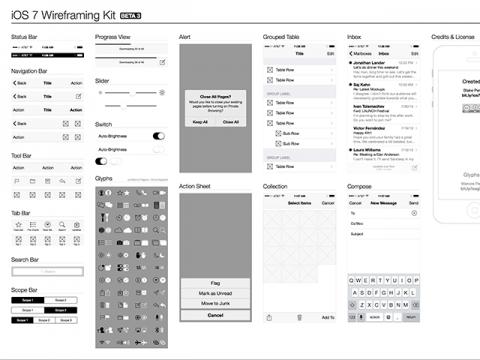 iOS 7 Wireframe Kit
