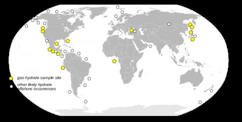 1996年のアメリカ地質調査所の調査によるハイドレートの分布図
