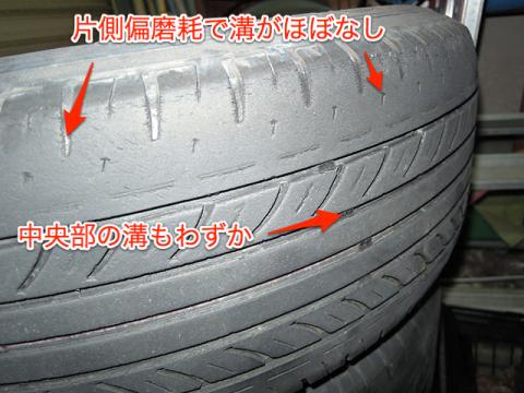 片側偏磨耗した溝なしタイヤ