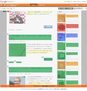 ページ解析 クリック率で色分け