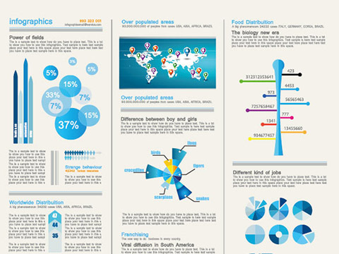 Set of chart and Infographics design elements vector 04