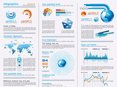 Set of chart and Infographics design elements vector 06