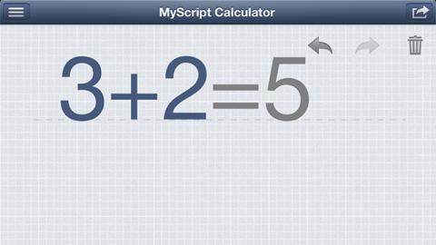 MyScript Calculator 計算例 たし算計算結果