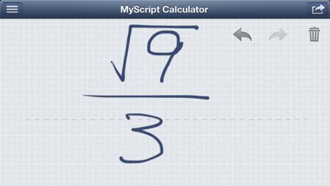 MyScript Calculator 計算例 分数・ルート入力
