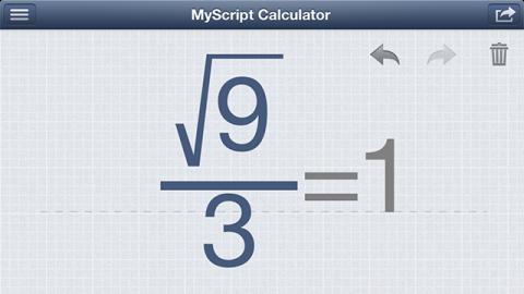 MyScript Calculator 計算例 分数・ルート計算結果