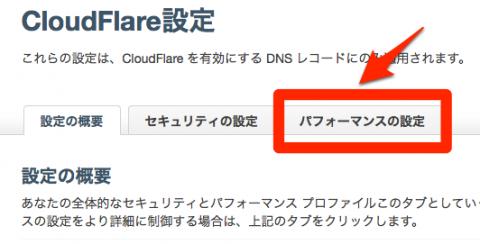 CloudFlare 設定 パフォーマンスの設定