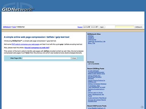 GIDZipTest: Web Page Compression (Deflate / Gzip) Test - GIDNetwork