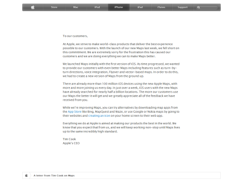 A letter from Tim Cook on Maps - Apple