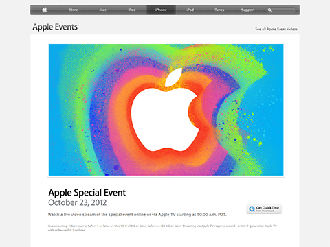 Apple Special Event October 2012 - Apple Events