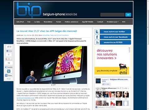 Le nouvel iMac 21,5″ chez les APR belges des mercredi - Belgium-iPhone