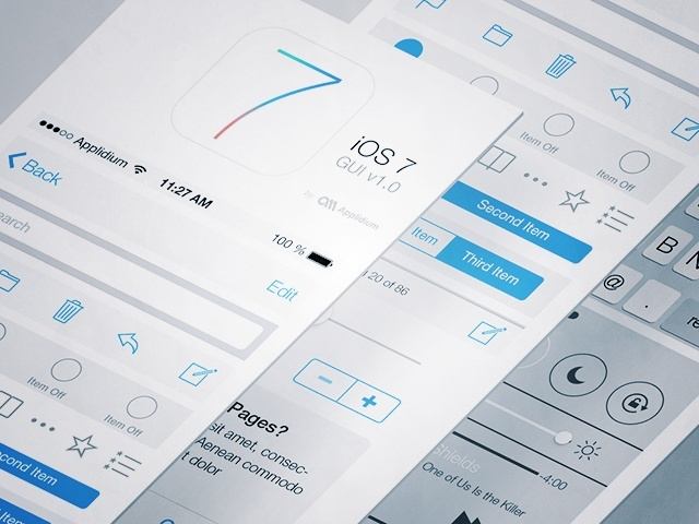iOS7 UIデザインのPSD/AIテンプレートファイル!