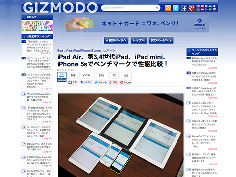 iPad Air、第3,4世代iPad、iPad mini、iPhone 5sでベンチマークで性能比較!