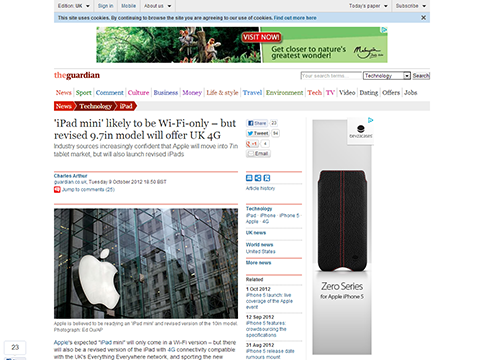 iPad mini likely to be Wi-Fi-only - but revised 9.7in model will offer UK 4G - guardian
