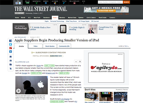 Apple iPad Suppliers Begin Producing Smaller Version - WSJ.com