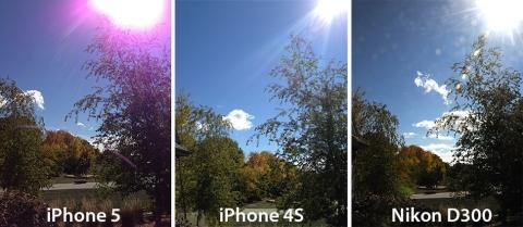iPhone5・4S・NikonD300紫フレアの比較