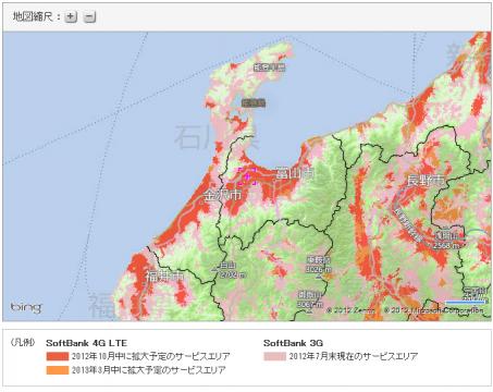 SoftBank LTE 石川・富山近郊
