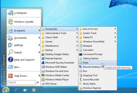 WindowsXPのスタートメニュー