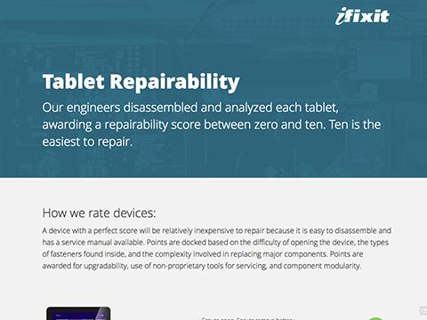 Tablet Repairability Scores - iFixit