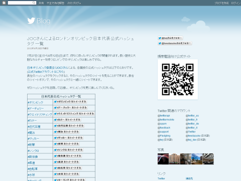 JOCによるロンドンオリンピック日本代表公式ハッシュタグ一覧