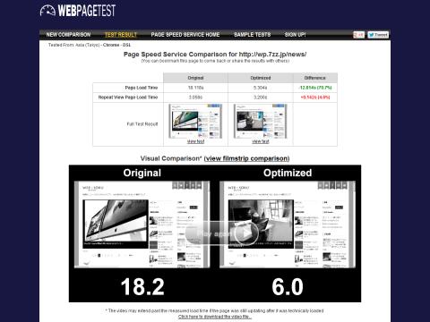 「ウェブソク」WebPagetest