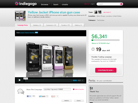 Yellow Jacket iPhone stun gun case - Indiegogo